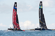 The Great Sound, Bermuda 12th June 2017. Emirates Team New Zealand And Artemis Racing in the re started race seven of the Louis Vuitton America's Cup Challenger. The first attempt was abandoned when race time limit was exceeded.