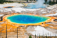 The Grand Prismatic Spring is 370 feet in diameter and the largest of the hot springs in Yellowstone. The center is an intense azure blue.  Created by the unique bacteria and algae that live within each hued band of mineral-rich water, the reds, oranges, yellows, greens surround a deep blue core that is too hot to sustain life. The deep blue color of the water in the center of the pool results from the intrinsic blue color of water, itself the result of water's selective absorption of red wavelengths of visible light. Though this effect is responsible for making all large bodies of water blue, it is particularly intense in Grand Prismatic Spring because of the high purity and depth of the water in the middle of the spring.