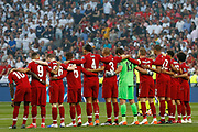 Liverpool players before kick-off in the UEFA Champions League Final match between Tottenham Hotspur and Liverpool at Wanda Metropolitano Stadium, Madrid, Spain on 1 June 2019.