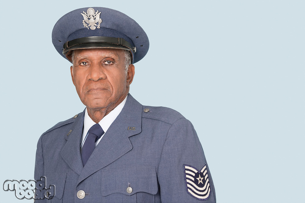 Portrait of a senior male US Air Force officer over light blue background