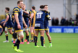 Francois Hougaard of Worcester Warriors celebrates on the final whistle with Wynand Olivier of Worcester Warriors   - Mandatory by-line: Joe Meredith/JMP - 05/03/2017 - RUGBY - Sixways Stadium - Worcester, England - Worcester Warriors v Bristol Rugby - Aviva Premiership