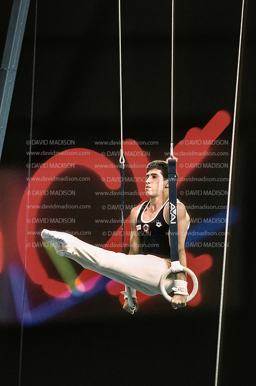 SEATTLE - JULY 1990:  Valerie Belenki of the USSR performs on the still rings during the gymnastics competition of the 1990 Goodwill Games held from July 20 - August 5, 1990.  The gymnastics venue was the Tacoma Dome in Tacoma, Washington.  (Photo by David Madison/Getty Images)
