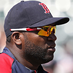 March 16, 2011; Lake Buena Vista, FL, USA; Boston Red Sox designated hitter David Ortiz (34) before a spring training exhibition game against the Atlanta Braves at the Disney Wide World of Sports complex.  Mandatory Credit: Derick E. Hingle