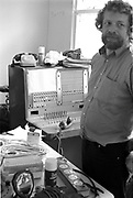 Man standing in Communication centre, Glastonbury, Somerset, 1989