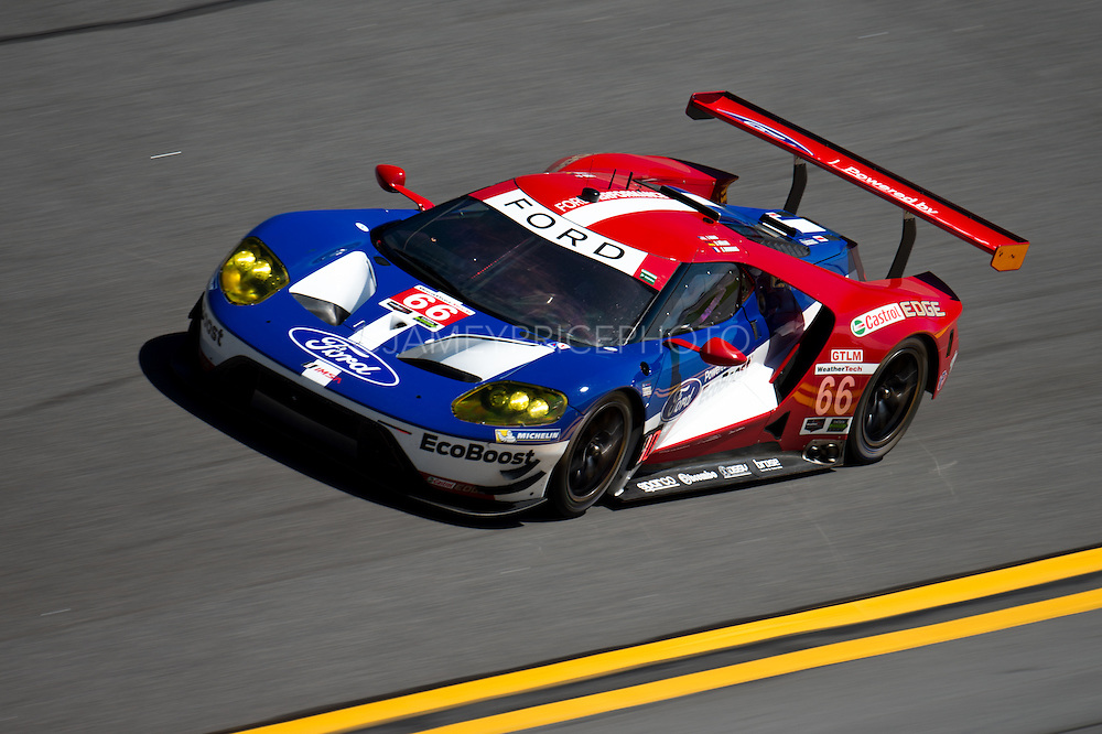 January 27-31, 2016: Daytona 24 hour: #66 Joey Hand, Dirk Muller, Sebastien Bourdais, Ford Chip Ganassi Racing, Ford GT GTLM