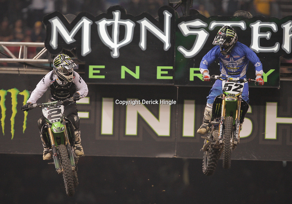 14 March 2009: Ryan Villopoto (2) races along side Robert Kiniry during the Monster Energy AMA Supercross race at the Louisiana Superdome in New Orleans, Louisiana