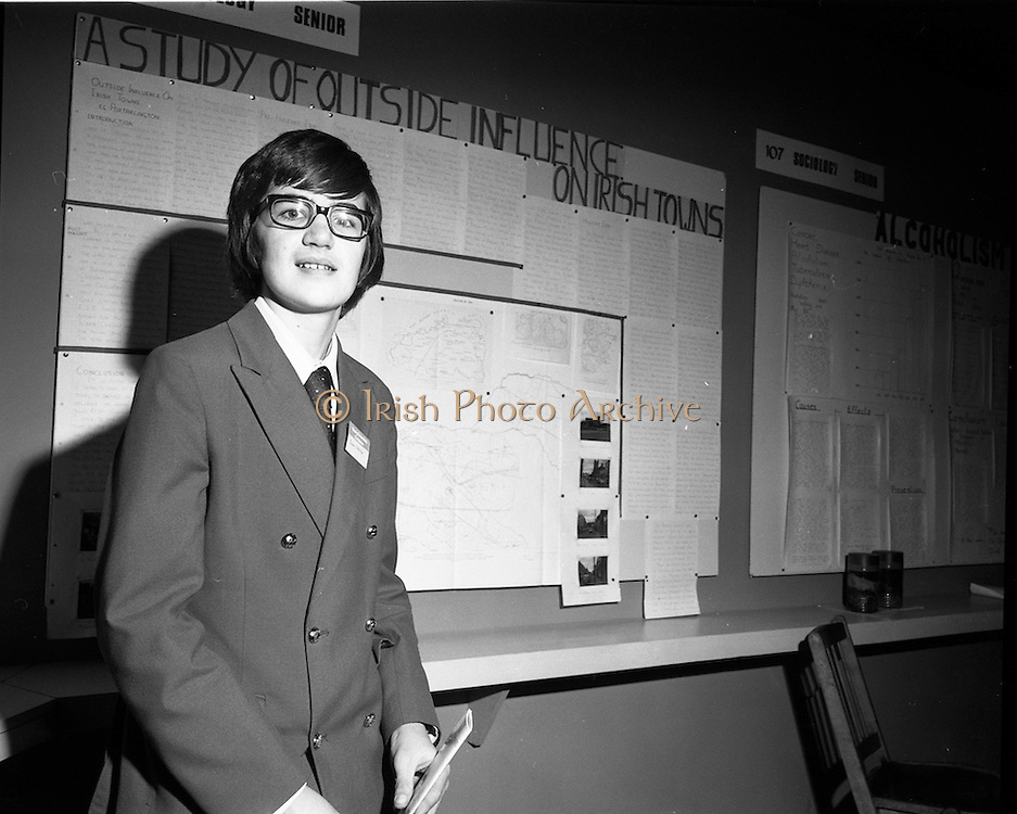 03/01/1975.01/03/1975.3rd January 1975.The Aer Lingus Young Scientist Exhibition at the RDS, Dublin...Picture shows John Dalton of St. Joseph's CBS Portarlington, who made a study of the outside influence on the growth of Irish towns in the Senior Sociology section.