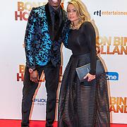 NLD/Amsterdam/20151207- Filmpremiere Bon Bini Holland, Jandino Asporaat en partner Shirley