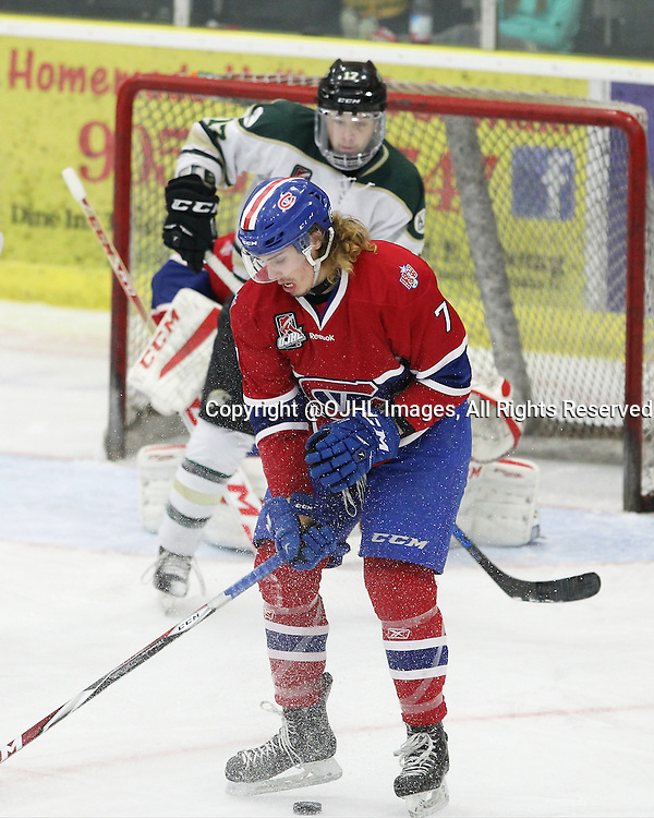 COBOURG, - Mar 9, 2016 -  Ontario Junior Hockey League game action between Kingston Voyageurs and Cobourg Cougars. Game 4 of the first round playoff series. At the Cobourg Community Centre, ON. Josh Hardiman #7 of the Kingston Voyageurs battles for the puck during the second period. (Photo by Tim Bates / OJHL Images)