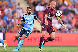 January 8, 2018 - Brisbane, QUEENSLAND, AUSTRALIA - Massimo Maccarone of the Roar (9, right) controls the ball during the round fifteen Hyundai A-League match between the Brisbane Roar and Sydney FC at Suncorp Stadium on Monday, January 8, 2018 in Brisbane, Australia. (Credit Image: © Albert Perez via ZUMA Wire)