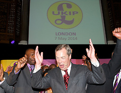Leader of the UKIP Party Nigel Farage addresses party members at a meeting to talk about the diversity of the party prior to the European and local council elections, Emmanuel Centre, London, United Kingdom. Wednesday, 7th May 2014. Picture by Elliott Franks / i-Images