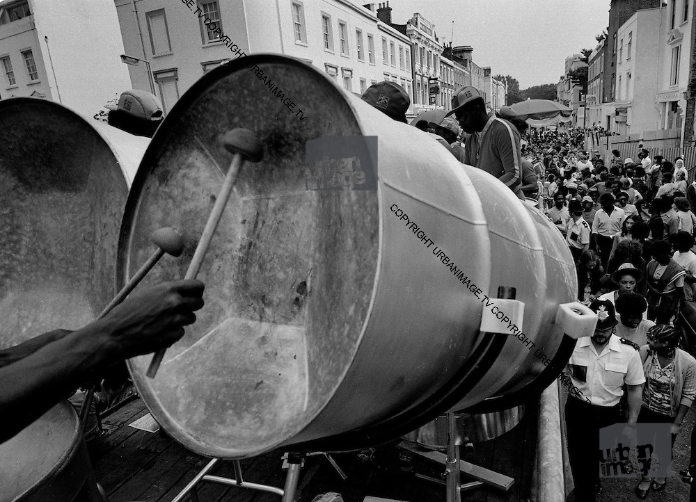 Notting Hill Carnival Steel Drums and crowd - 1989