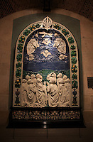 The Ascension of Christ by Italian Renaissance sculptor Andrea della Robbia on display in The Louvre Museum, Paris, France.