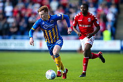 Jon Nolan of Shrewsbury Town goes past Anfernee Dijksteel of Charlton Athletic - Mandatory by-line: Robbie Stephenson/JMP - 13/05/2018 - FOOTBALL - Montgomery Waters Meadow - Shrewsbury, England - Shrewsbury Town v Charlton Athletic - Sky Bet League One Play-Off Semi Final