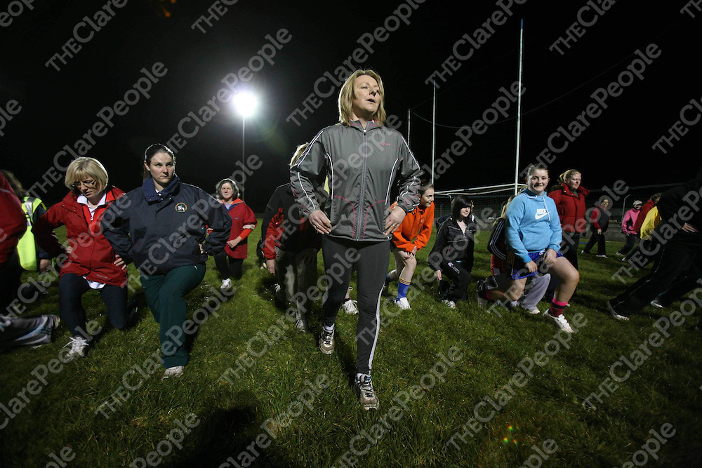 Members of the Clare Meet &amp; Train Program are put through their paces by Facilitator Dierdre Daly (centre) at Michael Cusacks GAA club on Thursday night last.<br /> <br /> Photograph by Eamon Ward