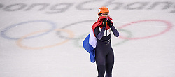 PYEONGCHANG, Feb. 22, 2018  Suzanne Schulting of the Netherlands celebrates victory after women's 1000m final of short track speed skating at the 2018 PyeongChang Winter Olympic Games at Gangneung Ice Arena, Gangneung, South Korea, Feb. 22, 2018.  Suzanne Schulting claimed champion in a time of 1:29.778. (Credit Image: © Wang Haofei/Xinhua via ZUMA Wire)