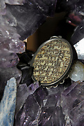 "Studio shot of a decorated Jewish Amulet Shema Yisrael (Sh'ma Yisrael ""Hear, Israel"")"