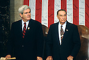 U.S. House Speaker Newt Gingrich with Senator Strom Thurmond in Congress November 9, 1996 in Washington, DC.