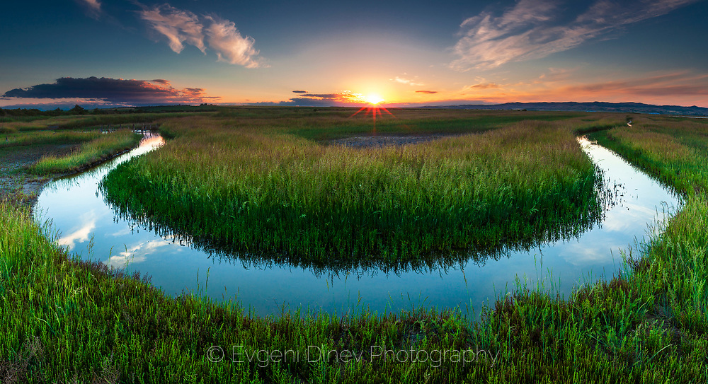 A stream in Atanasovsko ezero (salt lake) in springtime at sunset