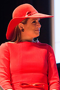 Koningin Maxima bij symposium 40 jaar Blijf van m'n Lijf in het Tropenmuseum, Amsterdam.Het symposium geeft inzicht in de geschiedenis van de vrouwenopvang en de nieuwe mogelijkheden voor de aanpak van huiselijk geweld. <br /> <br /> Queen Maxima Symposium Stay 40 years of my Body in the Tropenmuseum, Amsterdam.The symposium provides insight into the history of the women's and the new possibilities for addressing domestic violence.<br /> <br /> op de foto / On the photo:  Koningin Maxima,  tijdens de lancering van de app Ican, die vrouwen na een situatie met partnergeweld helpt herstellen en bouwen aan zelfvertrouwen.<br /> <br /> Queen Maxima, during the launch of the app Ican that women after a situation of domestic violence helps repair and build self-confidence.
