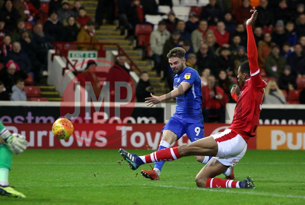 Matt Godden of Peterborough United shoots at goal against Barnsley - Mandatory by-line: Joe Dent/JMP - 26/12/2018 - FOOTBALL - Oakwell Stadium - Barnsley, England - Barnsley v Peterborough United - Sky Bet League One