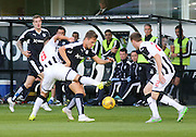Dunfermline's  Josh Falkingham ties to tackle Dundee's Greg Stewart - Dunfermline Athletic v Dundee - Scottish League Cup at East End Park<br /> <br />  - &copy; David Young - www.davidyoungphoto.co.uk - email: davidyoungphoto@gmail.com