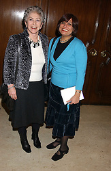Left to right, VALERIE SINGLETON and ZARINA McCULLOCH at the Holders Season Barbados Comes to London night at The Four Seasons Hotel, Hamilton Place, London on 3rd February 2006.<br /><br />NON EXCLUSIVE - WORLD RIGHTS
