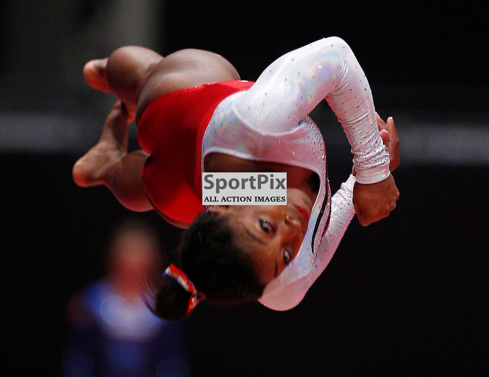 2015 Artistic Gymnastics World Championships being held in Glasgow from 23rd October to 1st November 2015..... Simone Biles (USA) performs in the Vault Table on Day 1 of the Women's & Men's Apparatus Final...(c) STEPHEN LAWSON | SportPix.org.uk