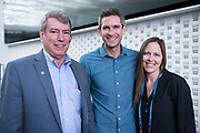 Tom Still from Wisconsin Technology Council, Author John Zeratsky, and Laura Kaiser from the Wisconsin Technology Council at the Wisconsin Entrepreneurship Conference at Venue 42 in Milwaukee, Wisconsin, Wednesday, June 5, 2019.