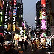 Myeongdong at night time, Seoul's main shopping and tourism district, Seoul, South Korea. 22nd March 2012. Photo Tim Clayton