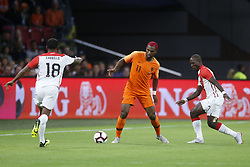 (L-R), Ryan Babel of Holland, Luis Advincula of Peru during the International friendly match match between The Netherlands and Peru at the Johan Cruijff Arena on September 06, 2018 in Amsterdam, The Netherlands