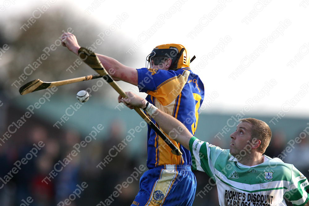 Padraig Kilmartin and Patsy Keyes go for a high ball during the Clare Senior Hurling County Final between Wolfe Tones and Newmarket at Cusack Park on Sunday.<br /><br />Photograph by Eamon Ward