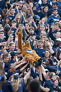 The Penn State Nittany Lion mascot is passed up the stadium by students in the crowd before a game against the Temple Owls on September 22, 2012 at Beaver Stadium in University Park, Pa.