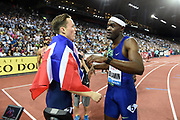 Karsten Warholm (NOR), left, shakes hands with Rai Benjamin (USA) after they placed first and second in the 00m hurdles in a meet record 46.92 and 46.98 to to become the third and fourth men to run under 47 seconds in the IAAF Diamond League final during the Weltkasse Zurich at Letzigrund Stadium, Thursday, Aug. 29, 2019, in Zurich, Switzerland. (Jiro Mochizuki/Image of Sport)