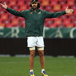 PORT ELIZABETH, SOUTH AFRICA - JUNE 27: Victor Matfield (captain) of South Africa during the South African National rugby team captains run and official team photograph at Nelson Mandela Bay Stadium on June 27, 2014 in Port Elizabeth, South Africa. (Photo by Steve Haag/Gallo Images)