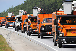 A line of power trucks head south on I-75 toward the Georgia coast in preparation for Hurricane Irma on Friday, September 8, 2017, in Griffin. Photo byCurtis Compton/Atlanta Journal-Constitution/TNS/ABACAPRESS.COM