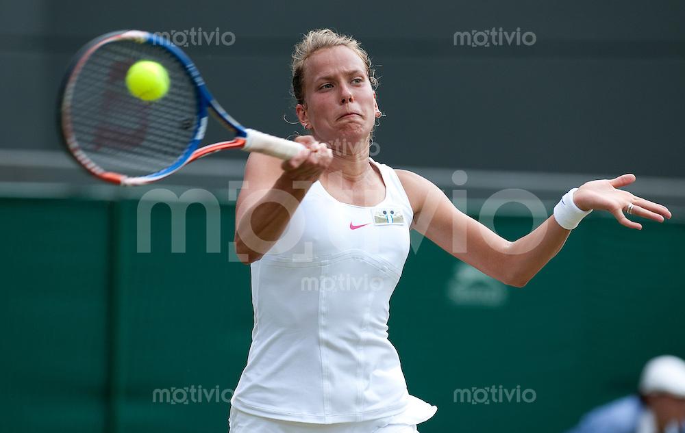 Barbora Zahlavova Strycova (CZE) plays against Maria Sharapova (RUS) on Court 1. The Wimbledon Championships 2010 The All England Lawn Tennis & Croquet Club  Day 6 Saturday 26/06/2010