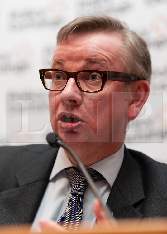 "© Licensed to London News Pictures. 16/04/2013. London, UK.   The Rt Hon Michael Gove MP speaks at the event ""Margaret Thatcher: Mother of Modernisation"" which considers Thatcher's legacy on public services, held by the think-tank Policy Exchange.  Policy Exchange a think tank whose mission is to develop and promote new policy ideas which deliver better public services, a stronger society and a more dynamic economy.  Michael Gove is the Secretary of State for Education.  Photo credit : Richard Isaac/LNP"