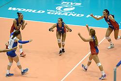 08-08-2014 NED: FIVB Grand Prix Nederland - Puerto Rico, Doetinchem<br /> Aurea Cruz, Stephanie Enright, Natalia Valentin