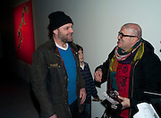 GAVIN TURK; FRANKO B, Fired Up, Exhibition of work by Joe Clark, Lauren Cotton, Rory McCartney, David Jones and Farid Rasulov. Gazelli Art House. Wakefield st. London. WC1. 10 February 2011. -DO NOT ARCHIVE-© Copyright Photograph by Dafydd Jones. 248 Clapham Rd. London SW9 0PZ. Tel 0207 820 0771. www.dafjones.com.