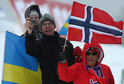 Fans of Sweden and Norway at Ladies`s and Men`s Sprint Qualifications Cross-country race at  FIS Nordic World Ski Championships Liberec 2008, on February 24, 2009, Vestec, Liberec, Czech Republic. (Photo by Vid Ponikvar / Sportida)