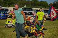 during the first day of scheduled demolition derbies on Sunday, August 1, 2016 at the Medina County Fair.