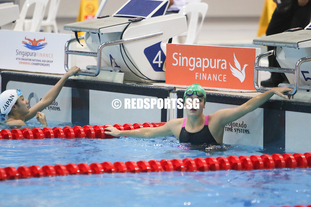 Georgina Winters, 14, reacts after her 50 freestyle race. She finished second in the 13-14 age group with a timing of 27.40s. (Photo © Chua Kai Yun/Red Sports)