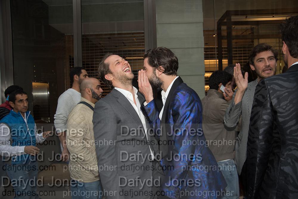 DEREK  BLASBERG; JACK GUINNESS; , Tom Ford cocktail and preview of Tom Ford's Spring-Summer 2016 Menswear Collection. 201-202 Sloane St. London. 14 June 2015