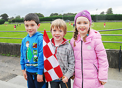 Some of the younger Garrymore supporters watched their team on the way to the Mayo U21 B Championship, Darragh Monaghan, Dylan and Allanah Gallagher...Pic Conor McKeown