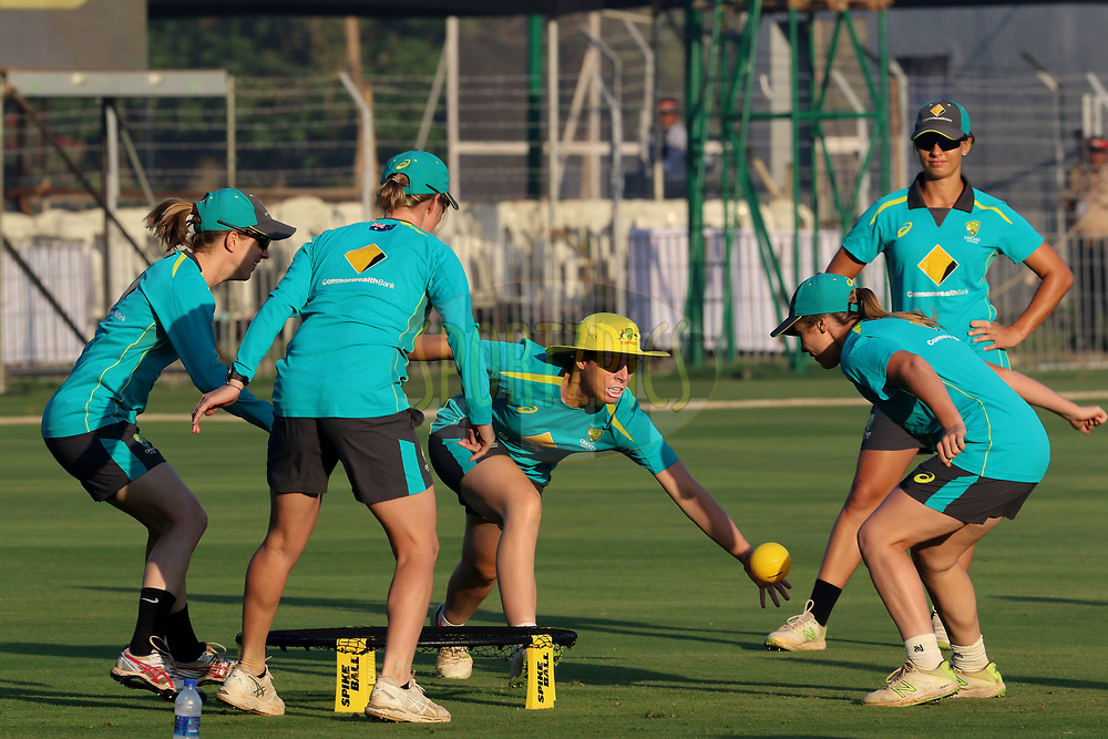 Australian players before the start of the match first women's one day International ( ODI ) match between India and Australia held at the Reliance Cricket Stadium in Vadodara, India on the 12th March 2018<br /> <br /> Photo by Vipin Pawar / BCCI / SPORTZPICS