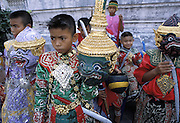 THAILAND: Bangkok.Boys prepare their khon (masks) for a role in the Ramakien play