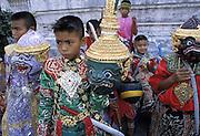 THAILAND: Bangkok.Boys prepare their khon (masks) for a role in the Ramakien play