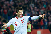 Chorzow, Poland - 2018 March 27: Robert Lewandowski from Poland celebrates after scoring while Poland v South Korea International Friendly Soccer match at Stadion Slaski on March 27, 2018 in Chorzow, Poland.<br /> <br /> Mandatory credit:<br /> Photo by &copy; Adam Nurkiewicz / Mediasport<br /> <br /> Adam Nurkiewicz declares that he has no rights to the image of people at the photographs of his authorship.<br /> <br /> Picture also available in RAW (NEF) or TIFF format on special request.<br /> <br /> Any editorial, commercial or promotional use requires written permission from the author of image.