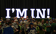 "Aug 25, 2017; Seattle, WA, USA; Seattle Seahawks fans arrive with the ""I'm In"" sign as a backdrop during a NFL football game between the Seattle Seahawks and the Kansas City Chiefs at CenturyLink Field."